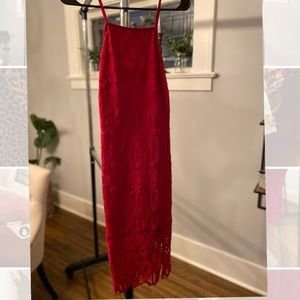 Strappy Red Lace Cocktail Dress